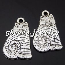 50606 Vintage Silver Alloy Lovely Pet Cats Crafts Pendants Charms Findings 20PCS
