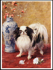 Japanese Chin And Vase Of Flowers Charming Dog Print Poster