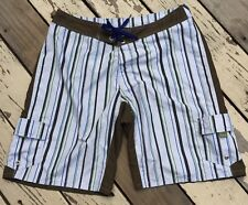 ROIAL Clothing • Mens Striped Surfing Board Shorts Swimming Trunks waist size 36