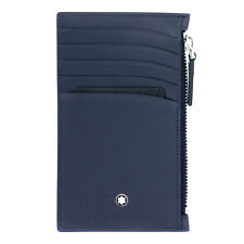 Montblanc Meisterstuck Small Wallet Pocket 5cc Card Holder Zip Blue Navy 118314