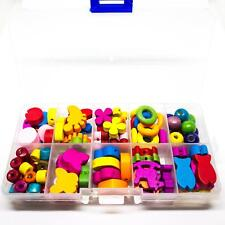 Bright Wooden Beads For Childrens' Jewellery In Organizer Box. Great For Kids.