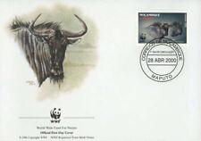 WWF  ANIMALI  FDC MOZAMBICO BUSTA PRIMO GIORNO 2000 KARIBU  4/4