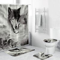 US 4Pcs Wolf Decor Shower Curtain Bathroom Anti-slip Carpet Rug Toilet Cover Mat