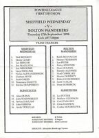 Teamsheet - Sheffield Wednesday Reserves v Bolton Wanderers Reserves 1998/9