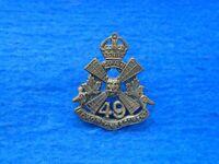 WWI CANADIAN 49TH BATTALION (EDMONTON REGIMENT) CEF BRASS COLLAR BADGE, TIPTAFT