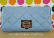 Michael Kors Astrid Carry All Quilted Leather  Flap Wallet Pale Blue.