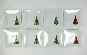 Lot of (8) ~ Pampered Chef Holiday Appetizer Plates #2808 ~ Christmas Trees!