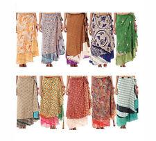 10 Vintage 2 Layer Silk Sari Magic Wrap Around Skirts Dress Beach Wear Sarong