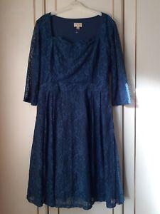 Ladies Blue Lindy Bop Dress Size 18