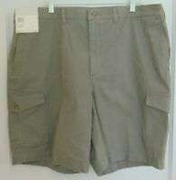 Savane Mens Khaki Cargo Shorts Size 42 Sage Green Flat Front Cotton  NWT NEW ***
