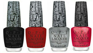 OPI Nail Lacquer Black, Red, Pink, Silver. Pack of 4 Bottles. Full Sizes.
