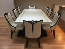 Off White Marble Dining Table & 8 OFF White Chairs - BRAND NEW
