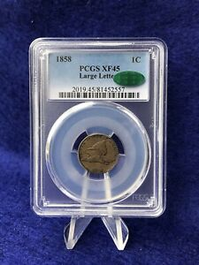 1858 LARGE LETTERS FLYING EAGLE CENT 1c PENNY *PCGS/CAC XF45 CHOICE EXTRA FINE*
