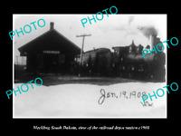 OLD LARGE HISTORIC PHOTO OF MECKLING SOUTH DAKOTA, RAILROAD DEPOT STATION c1908