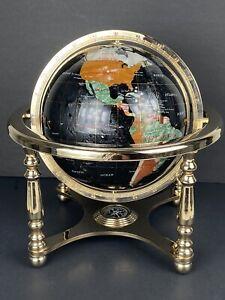 "Alexander Kalifano Gemstone World Globe Black Opalite Gold Stand Compass 13"""
