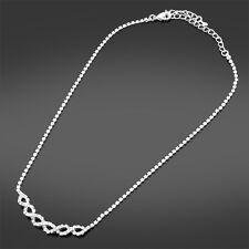 Ladies Silver Tone Crystal Infinity Necklace Wedding Jewellery Birthday Gift R1