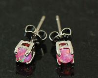1 Pair 316L Surgical Steel 4mm Pink Color Fire Opal Earrings Ear Stud 20g