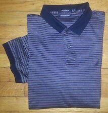 Nautica Shirt Golf Polo XL Navy Blue White Gold Blue Stripe Cotton S/S s2837