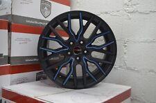 4 Wheels 18 inch Matte Black Blue FLARE Rims fits FORD FOCUS ST 2013 - 2018