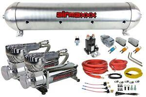 5 gallon spun raw aluminum air tank 580 chrome air compressors & dual wiring kit