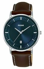 Pulsar Gents Stainless Steel Classic Navy Dial Watch Brown Leather Strap PG8257