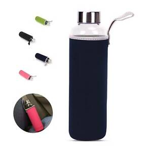 GLASS Drinking Water Bottle 550ml Insulate Silicone Sleeve easy to carry