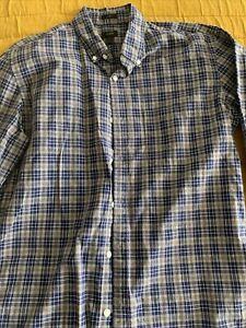 J.Crew plaid button down shirt grey navy slim large