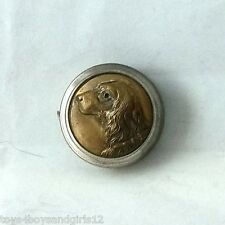 RARE BRASS TAPE MEASURE, RELIEF IRISH SETTER RETRIEVER DOG FACE WITH GLASS EYES