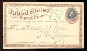 USA 1877 Postal Card. BAY CITY Michigan Cancel in Blue. Fancy Cross  (inv:p1614)