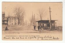 1907 Postcard Thompsonville, Connecticut North Main Street & Trolley Station