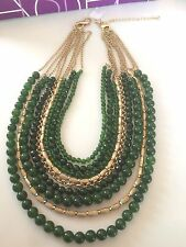 "Lia Sophia ""Canopy"" Necklace ~Green and Gold tone with Infinite Clasps~NIOB"