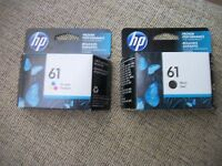 Lot of 2 Genuine HP #61 BLK (1) & Color (1) Inks, Retail Boxed, 2019 Expiration
