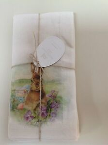 New Pottery Barn Meadow Bunny Napkins, set of 4 New with Tag