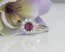 Dashing 14K White Gold 1.06ct Natural Ruby and Diamond Halo Flower Cocktail Ring
