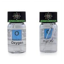 Ossigeno +99% gas elemento 8 O, in mini ampolla e fiala di vetro con etichetta