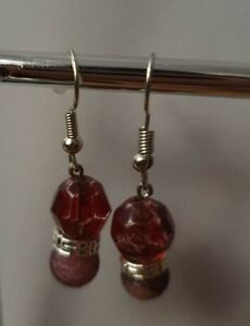 Pink Agate Cracked Earrings Silver Plated Gemstone Unique Stunning Drop Dangle