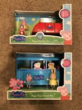 NEW PEPPA PIG'S SCHOOL BUS & RED CAR WITH SOUNDS AND PEPPA, MUMMY & MISS RABBIT