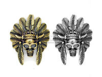 "2PCS 1-3/4"" Skull Concho Screw Back Indian Head Tribal Cheif Leathercraft Button"