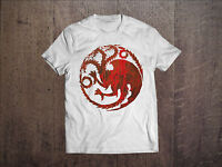 Game Of Thrones Men White T-shirt Targaryen Fire And Blod Tee Shirt