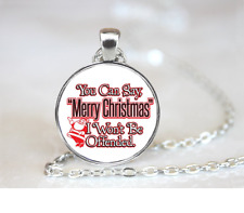 Merry Christmas Not Offended PENDANT NECKLACE Chain Glass Tibet Silver Jewellery