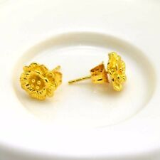 Pretty 24k Yellow Gold Filled Earrings 9mm Flower Stud GF Charms Fashion Jewelry