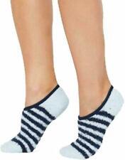 Charter Club Womens Colorblocked Light Blue Navy Striped Fuzzy Cozy Socks NEW