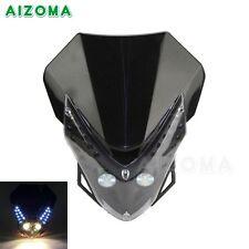 Motorcycle Universal LED Vision Headlight Lamp Fairing Street Fighter Dirt Bike