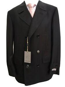 NEW CANALI Mens Wool Double Breasted Herringbone Black Pea Coat size L