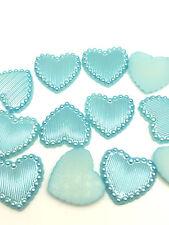NEW 50PCS Charm resin Stripe DIY heart Scrapbook Craft 15MM Flatback Sky Blue#