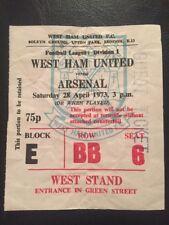 Ticket: West Ham United V Arsenal 28/04/1973
