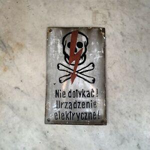 Vintage enamel convex sign skull and crossbones electrical warning in Polish