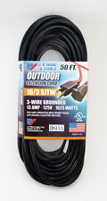 50' 16 Gauge Black Extension Cord - MADE IN THE USA