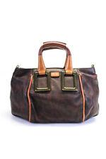 Chloe Womens Small Animal Print Leather Satchel Handbag Brown