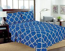 "Geometric Printed 4-Pcs Sheet Set 16"" Deep Pocket Bed Sheets Microfiber Bedding"